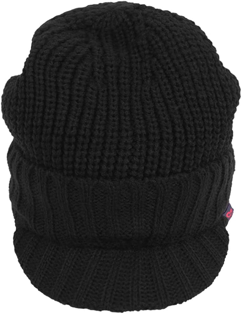 Original One Men Winter Warm Knit Visor Brim Cable Beanie Thick Fleece Lined Newsboy Cap