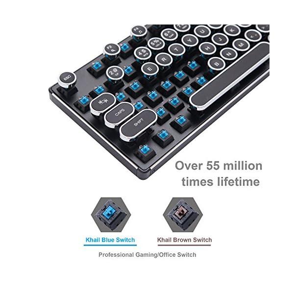 Migree USB Backlit Retro Typewriter Mechanical Keyboard-Khail Blue/Brown Switch-Full Metal Boby–LED Vintage Inspired Steampunk Gaming Keyboard–Mechanical Gaming Keyboard for PC/Mac/Gamer/Typist 5