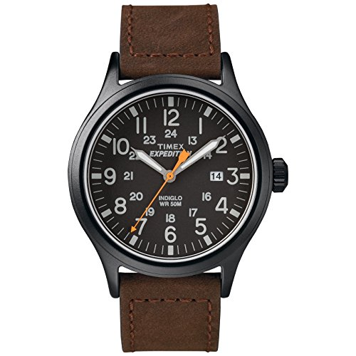 Timex Men's TW4B12500 Expedition Scout 40mm Brown/Black Leather Strap Watch (21 Leather Watch Strap)