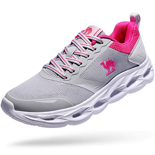 CAMEL CROWN Women Running Shoes Lightweight Breathable Sneakers Shockproof Athletic Shoes for Outdoor Gym Exercise Grey 6.5 US