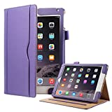iPad Air 2 Case, iPad Air Case, ULAK PU Leather Case Smart Auto Wake/Sleep Cover with [Hand Strap] [Stylus Holder] [Foldable Stand] for Apple iPad Air 1/2 (9.7 Inch) (Purple) [Will Not Fit iPad 2]
