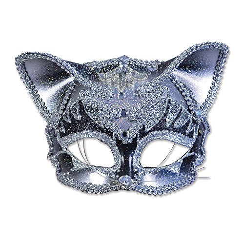 Bristol Novelty EM419 Jewelled Cat Eye Mask on Headband, Multi-Colour, One - Mask Jeweled Party