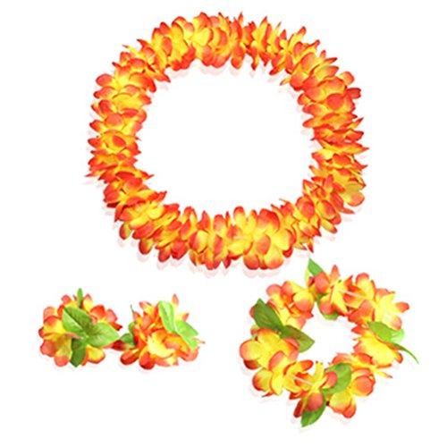 (Hawaiian Luau flower Leis Jumbo necklaces bracelets headband set)