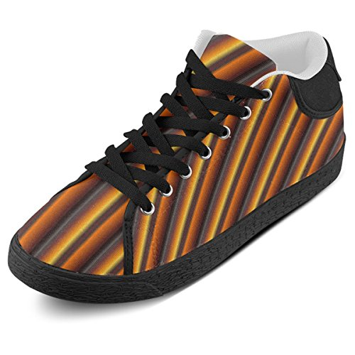 Artsadd Glossy Honey Caramel Gradient Stripes Chukka Canvas Schoenen Voor Dames (model003)