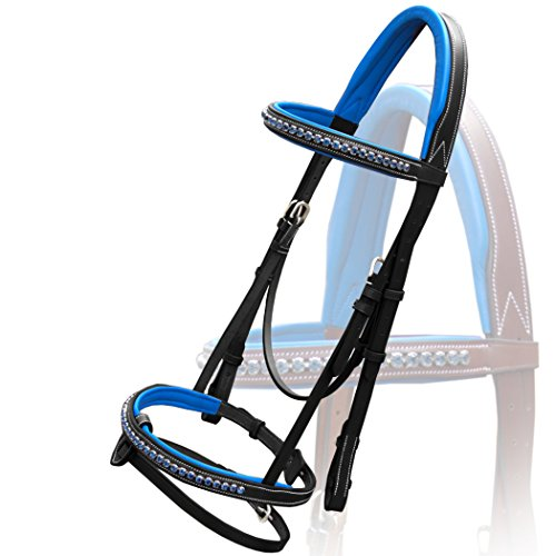 Exion Dark Blue Diamond Leather Bridle with Reins and Stainless Steel Buckles   Equestrian Show Jumping Padded Bridle Set  English Horse Riding Premium Tack   Black   Horse (Full)