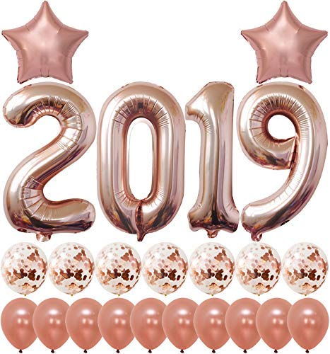 2019 Rose Gold Confetti Balloons Kit | Large 40 Inch 2019 Balloons Rose Gold | New Years Eve Party Supplies 2019 | Graduations Party Supplies 2019 New Years Party Decorations, Graduation Decorations