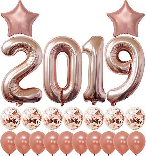 2019 Rose Gold Confetti Balloons Kit | Large