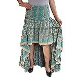 Mogul Interior Womens Bellydance Skirt Blue Recycled Sari Free Ruffle Maxi Skirts