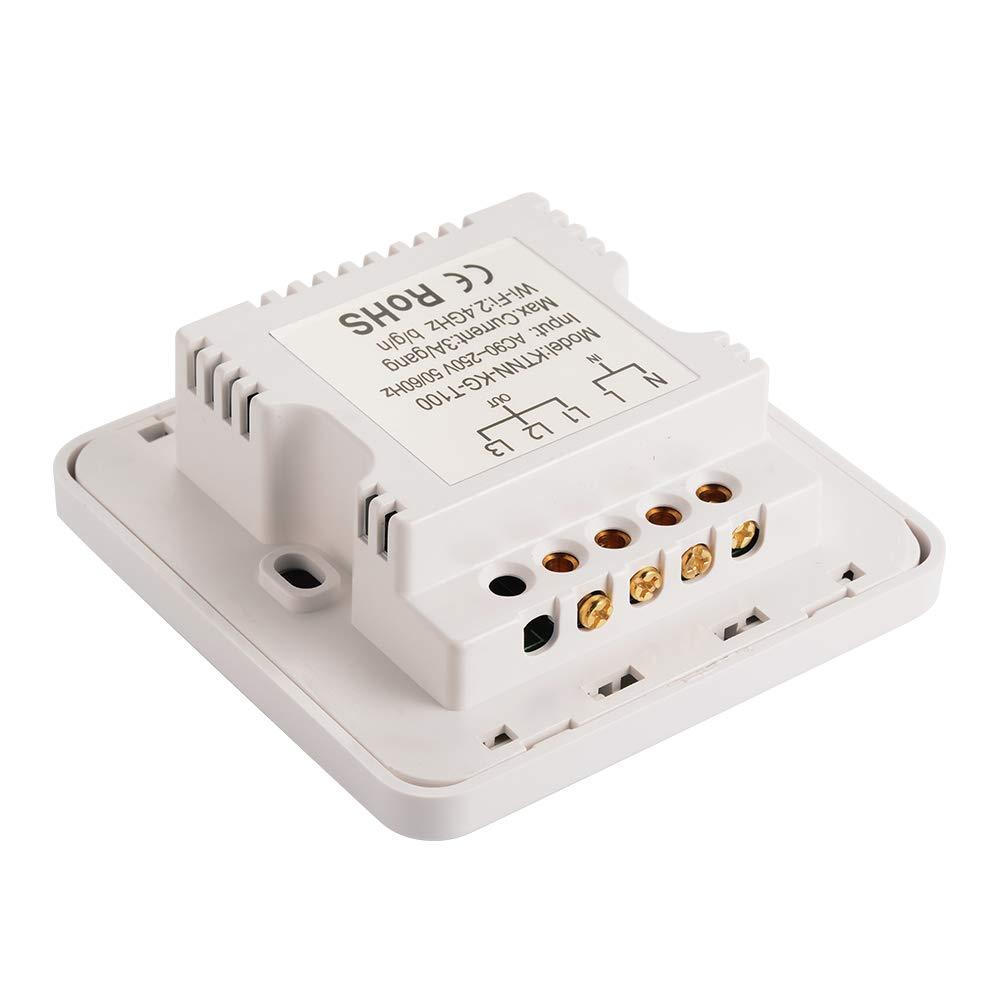 Kreema Commutateur /à bouton-poussoir de contr/ôle APP panneau mur l/éger WiFi Smart 2 Gang