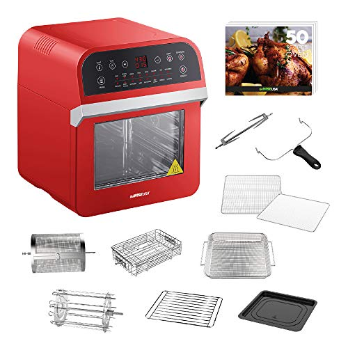 GoWISE USA 12.7-Quart 15-in-1 Electric Air Fryer Oven w/Rotisserie and Dehydrator + 10 Accessories and 50 Recipes for your Air Fryer Oven Book (Red)