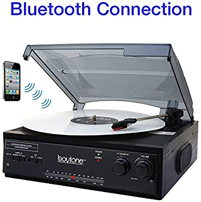 Boytone BT-13B with Bluetooth Connection 3-Speed Stereo Turntable Belt Drive 33/45/78 RPM, 2 built in Speakers AM/FM Stereo Radio, 3.5mm Headphone Jack/ Axillary, RCA Jack, 45 Rpm Adapter Included from Boytone