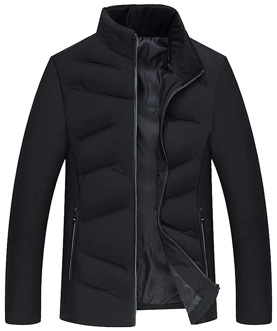 YYG Mens Full-Zip Warm Quilted Vogue Stand Collar Cotton Down Coat