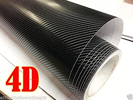 DIYAH 4D Black Carbon Fiber Vinyl Wrap Sticker with Air Realease Bubble Free Anti-Wrinkle 24 x 60 // 2FT x 5FT