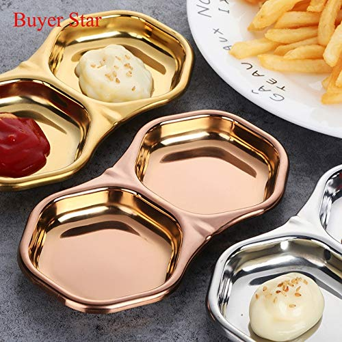 Best Quality - Dishes & Plates - Stainless steel kitchen Lattice seasoning small dish of soy sauce Japanese Trays Tableware vinegar sauce dish snack plate - by Tini - 1 PCs