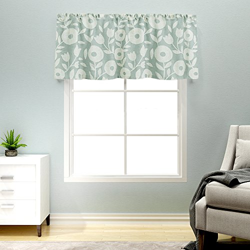Kitchen Valances for Windows Linen Textured Valance Curtains Rod Pocket Rustic Floral Printed Valances Window Treatments 15 Inches Long (1 Panel, Grey and White) (Window Green Valance Treatment)