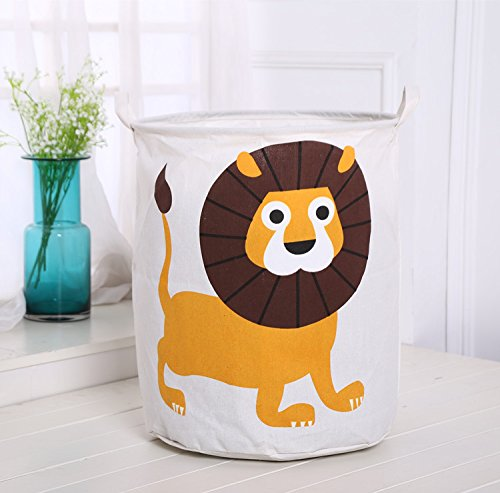Wkkee Cylindric Burlap Canvas Storage Basket with Cute Animal Design Laundry Basket, Drawstring Waterproof Round Cotton Linen Collapsible Storage Basket/ Laundry Basket – Perfect for Household Storage