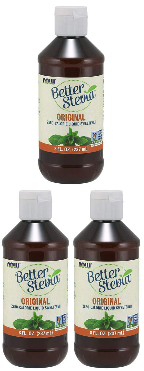 NOW Foods AFWQND BetterStevia Liquid, 3 Pack of 8 Ounce