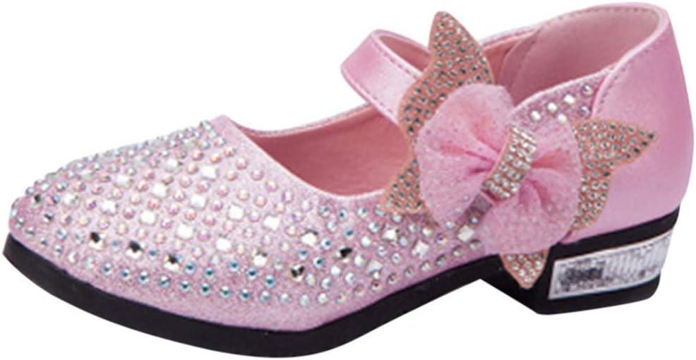 Girl Kids Bowknot Princess Shoes Children Party Dress Up Low Block Heel Sandals