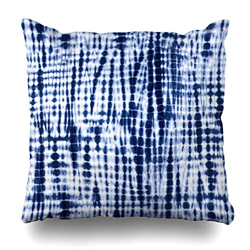 NOWCustom Throw Pillow Cover Tie Navy Indigo Blue Tiedye Pattern Abstract Painting Dye Watercolor Batik Dyed Ink White Artistic Zippered Pillowcase Square Size 18 x 18 Inches Home Decor Pillow Case (Pillows Batik Outdoor)