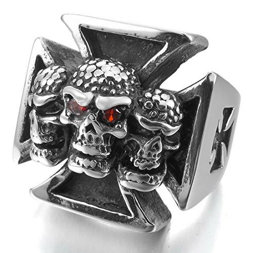 INBLUE Men's Stainless Steel Ring CZ Silver Tone Black Celtic Medieval Cross Skull Shield Size12 - Celtic Cross Ring Mens