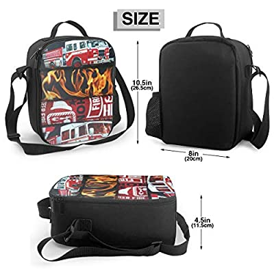 Msqau Fire Fighter Hero Portable Insulated Lunch Bag Outdoor Large Capacity Picnic Bag for Work/School/Picnic: Home & Kitchen