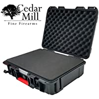 X-Large handgun and Camera Case WATERPROOF TSA Airline certified 1-2 pistols 13 inches lockable black pistol case customizable box cases tactical hard gun accessory small 9mm FREE HIGH VISIBILITY RED