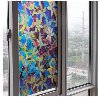 1pc 888coloured drawing or pattern glass sticker without glue film balcony door glass stickers cabinet