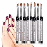 Naladoo Nail Art for Women,8 Pcs UV Gel Acrylic Liner Painting Nail Art Tips Design Polish Brush Pen Set