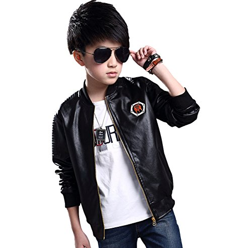 MNLYBABY Little Boy's Stand-Collar Motorcycle Faux PU Leather Jacket Zip Moto Coat Black 7-8t