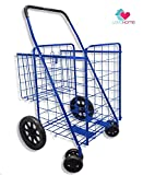 Premium Heavy Duty Metal Folding Shopping Cart with Double Basket - Jumbo Size 150 lb Capacity Black With Spinning Wheels - Make Grocery Shopping Easy (Blue)