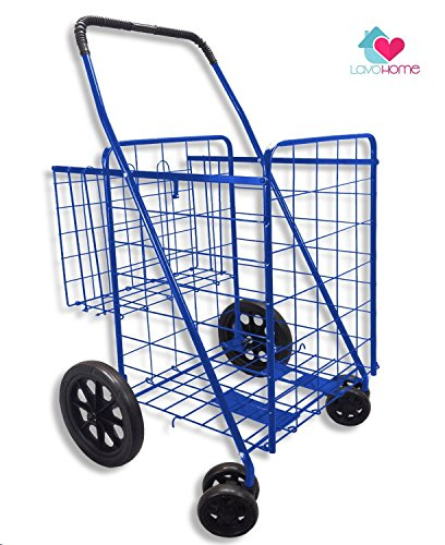 UPC 642078484360, Premium Heavy Duty Metal Folding Shopping Cart with Double Basket - Jumbo Size 150 lb Capacity Black With Spinning Wheels - Make Grocery Shopping Easy (Blue)