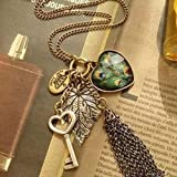 Fashion Women Girl Vintage Heart Key Pendant Peacock Leaf Long Chain Necklace#by pimchanok shop (Alloy)