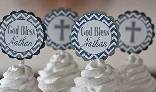 12 - Baptism 1st Communion Christening Navy Blue & Grey Chevron Cross Birthday Cupcake Toppers - Party Packages, Tags, Banners, Door Signs Available ()