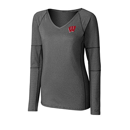 Cutter & Buck NCAA Wisconsin Badgers Adult Women Long Sleeve Victory V-Neck, Large, Black