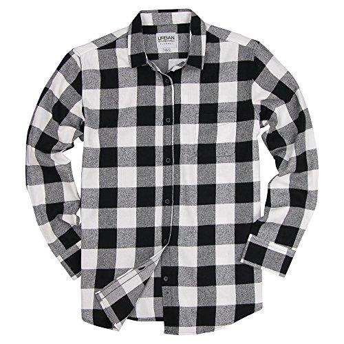 Check Flannel White Black Plaid (Urban Boundaries Womens Buffalo Plaid Long Sleeve Flannel Shirt w/Point Collar (Black/White, X-Large))