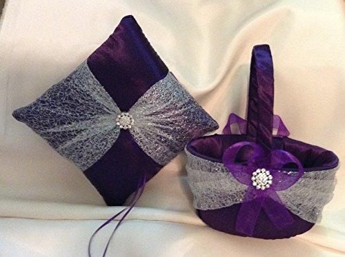 (wedding ring bearer pillow and flower girl basket dark purple and silver)