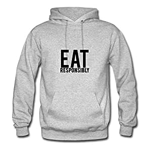 Women Off-the-record Lightweight Dorastanl X-large Custom-made Eat Responsibly Grey Sweatshirts