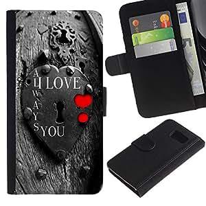 Paccase / Billetera de Cuero Caso del tirón Titular de la tarjeta Carcasa Funda para - I Love You Lock - Samsung Galaxy S6 SM-G920