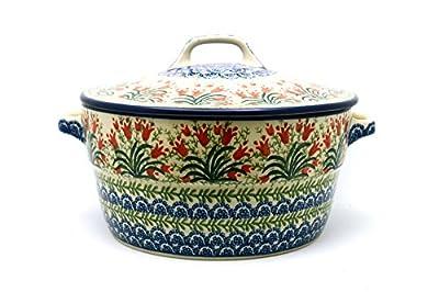 Polish Pottery Baker - Round Covered Casserole - Crimson Bells