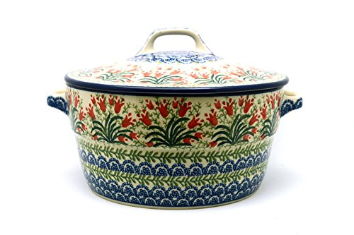 Polish Pottery Baker - Round Covered Casserole - Crimson Bells - Pottery Covered Casserole