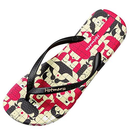 Hotmarzz Chanclas para Mujer Mosaico Sandalias Playa Verano Zapatillas Piscina Ducha Flip Flops Negro