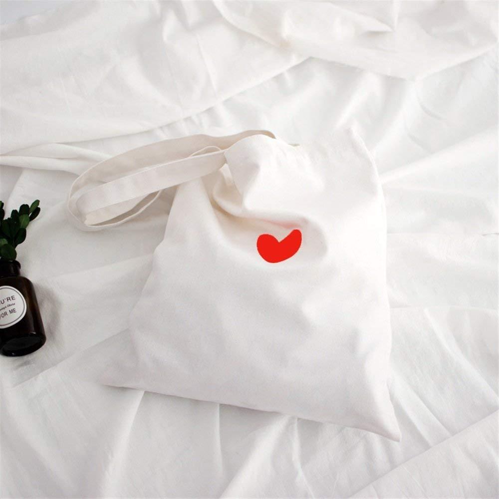 WHXYAA Simple Original Love Heart Printed Canvas Shoulder Bag Environmentally Friendly Tote Bag Hook and Loop Thickened Student Bag