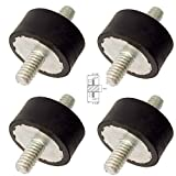Lot of (4) Rubber Anti Vibration Isolator Mounts Rubber Height 3/4'' x 1-1/4'' Rubber Diameter - Studs 5/16-18 x 13/16'' Length