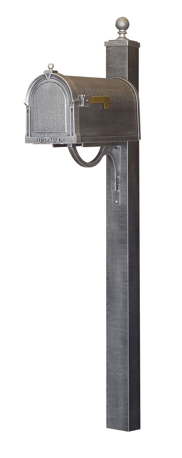 Special Lite Berkshire Curbside Mailbox with Springfield Mailbox Post - Swedish Silver