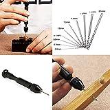NALEDI Tool kit DIY Precision Pin Mini Hand Rotary Tools Drill Set with Twist Drill Bits Set of 10