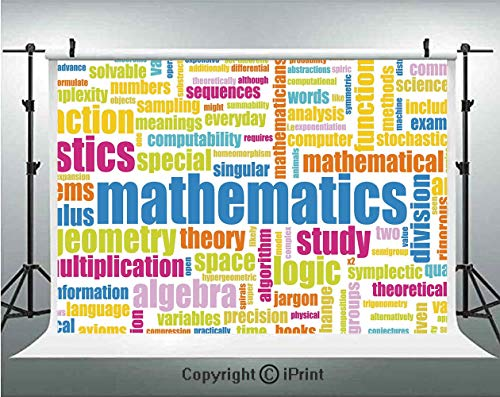 Mathematics Classroom Decor Photography Backdrops Math Related Different Words Conceptual Terminology Collection,Birthday Party Background Customized Microfiber Photo Studio Props,10x6.5ft,Multicolor ()