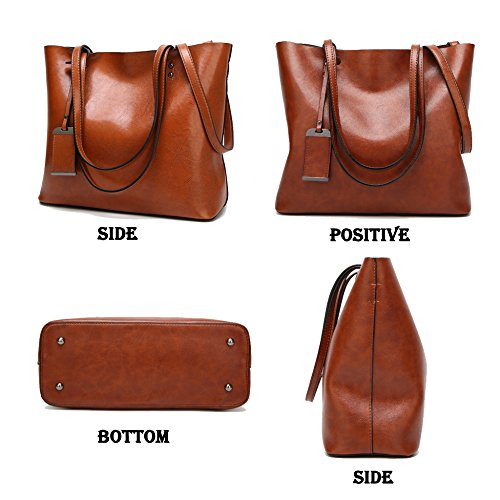 Messenger Bag Oil Women's Large Totes capacity Ladies Popular Bag Retro Grey Handbags Leather Shoulder Pq7ava