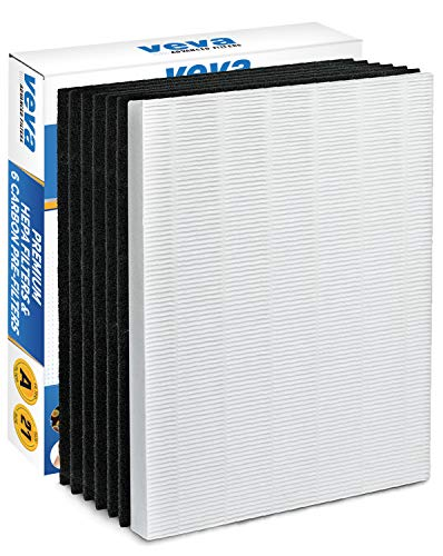 VEVA HEPA Filter with 6 Activated Carbon Pre Filters Compatible with 115115 Size 21 Filter A and WX Air Purifier P300, 5300, 5500, 6300, C535 & 290, 300, DX95, ()