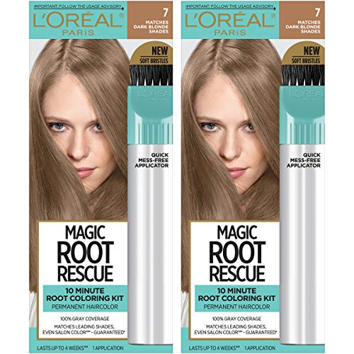 L'Oreal Paris Magic Root Rescue 10 Minute Root Hair Coloring Kit, Permanent Hair Color with Quick Precision Applicator, 100% Gray Coverage, 7 Dark Blonde, 2 count