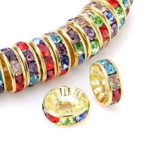 Wholesale Bali Silver Beads - RUBYCA 100pcs Round Rondelle Spacer Bead Gold Tone 8mm Multi-Color Czech Crystal